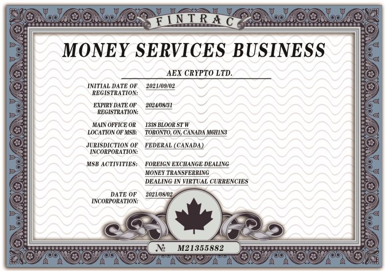 AEX全球化战略加速 取得加拿大MSB牌照